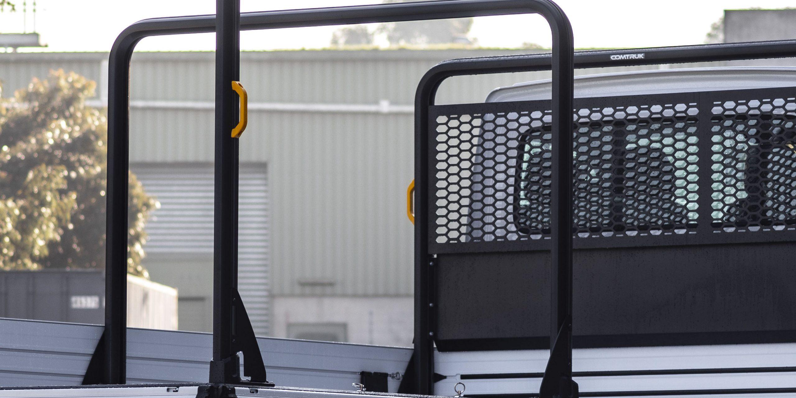 Comtruk adjustable full aluminium rack in black powder coat