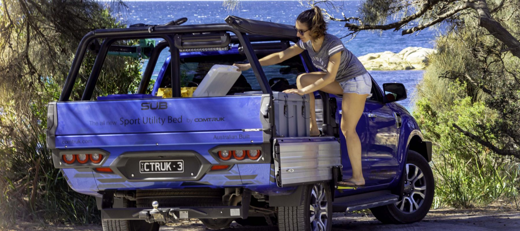 image of a Ford Ranger SUB loaded for camping and sport in Tasmania