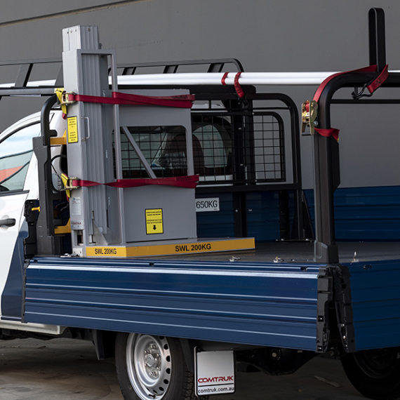 commercial ute tray with racking system and EZ Lift-N-Load side lifter