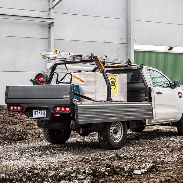 Ford Ranger with installed Comtruk ute tray on work site