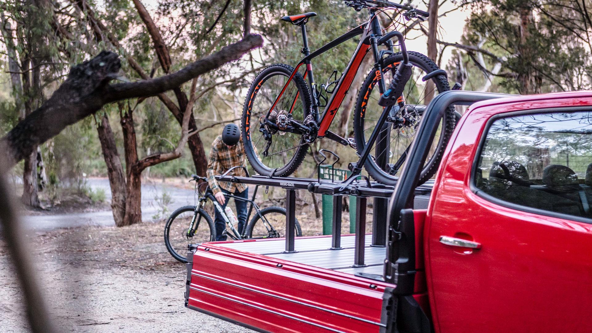 SUB ute tray hauling bikes