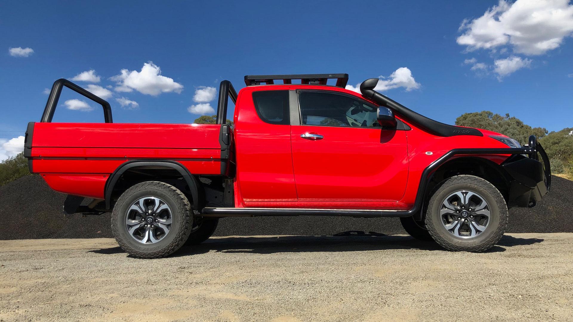 SUB ute tray installed on red Mazda
