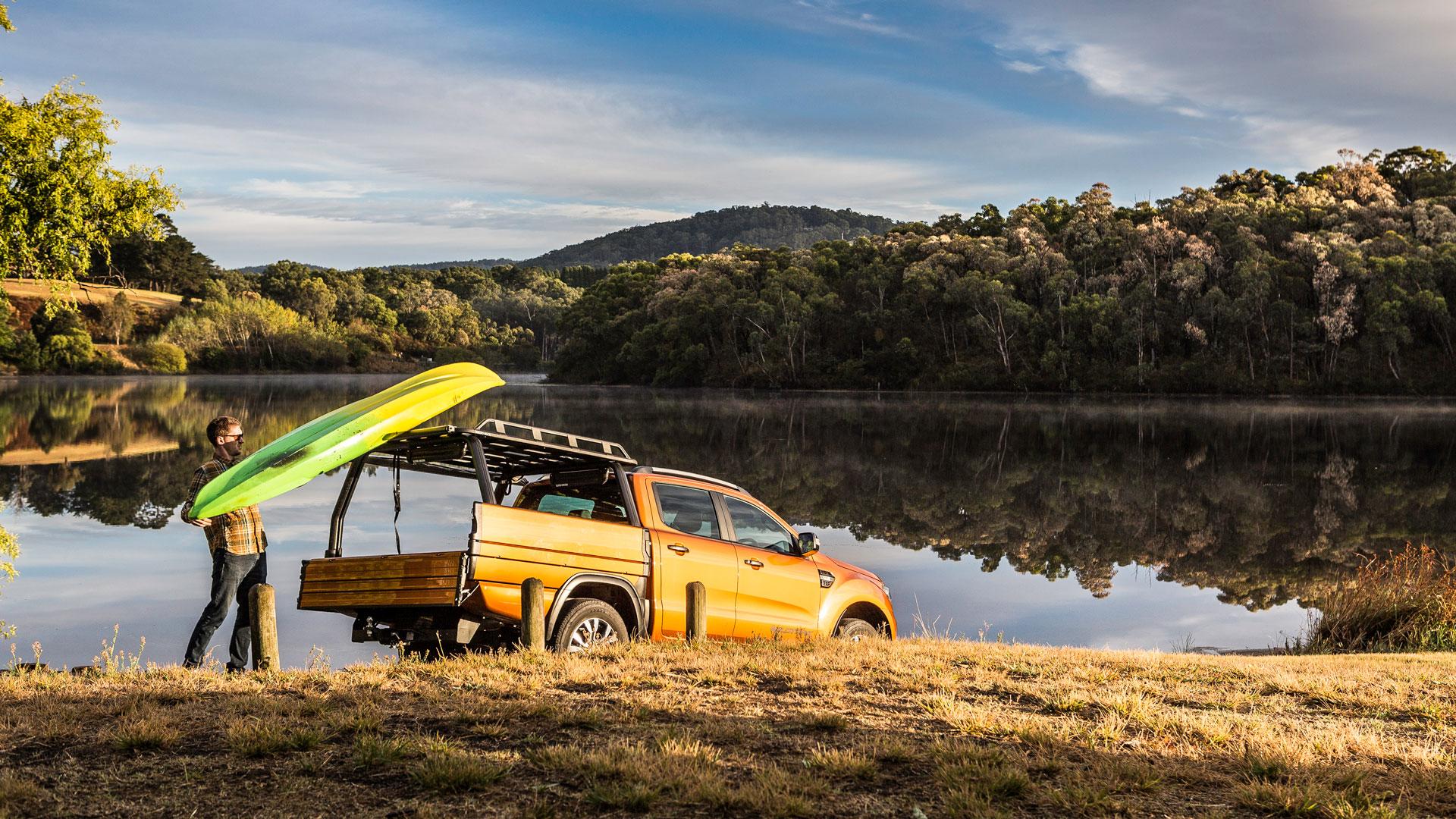 Ford Ranger SUB alloy tray at a lake