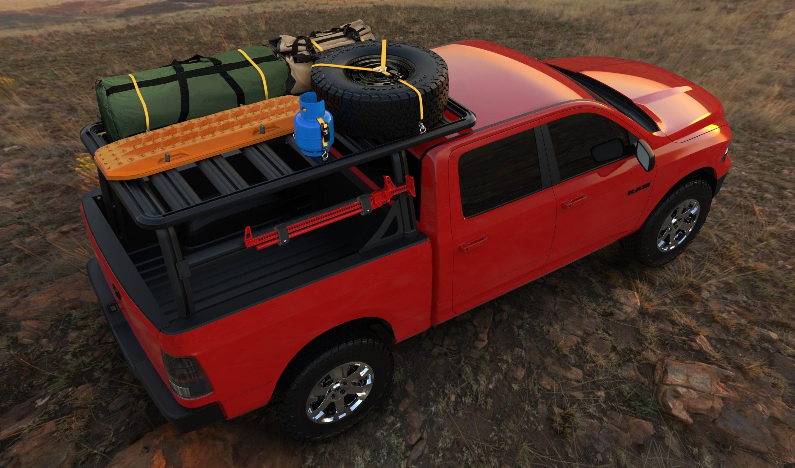heavy duty platform rack loaded with camping gear